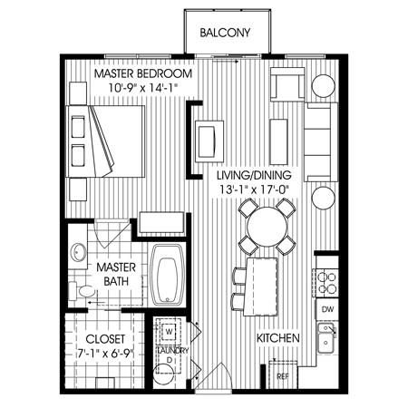 764 sq. ft. C6L floor plan