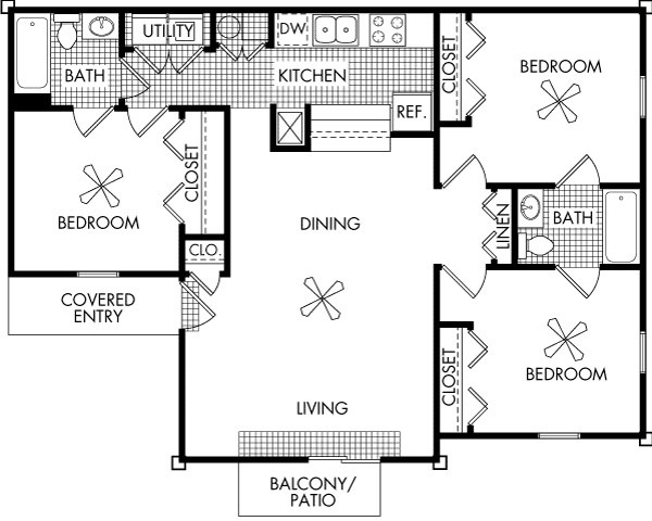 1,204 sq. ft. C1 floor plan