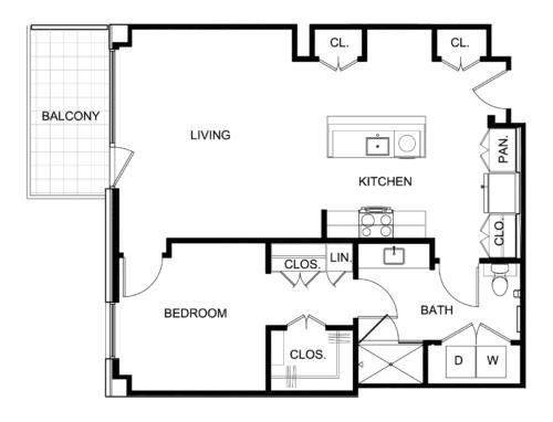 886 sq. ft. A8 floor plan