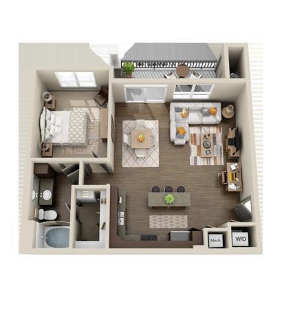 826 sq. ft. Spanish Oak floor plan