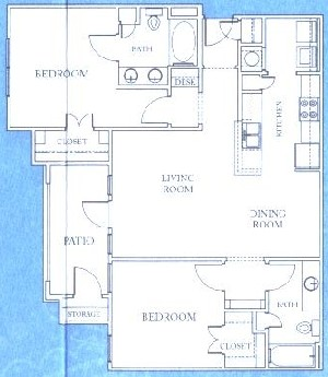 1,074 sq. ft. B2 floor plan