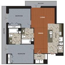 1,238 sq. ft. B6 floor plan