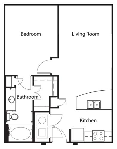 673 sq. ft. A2 floor plan