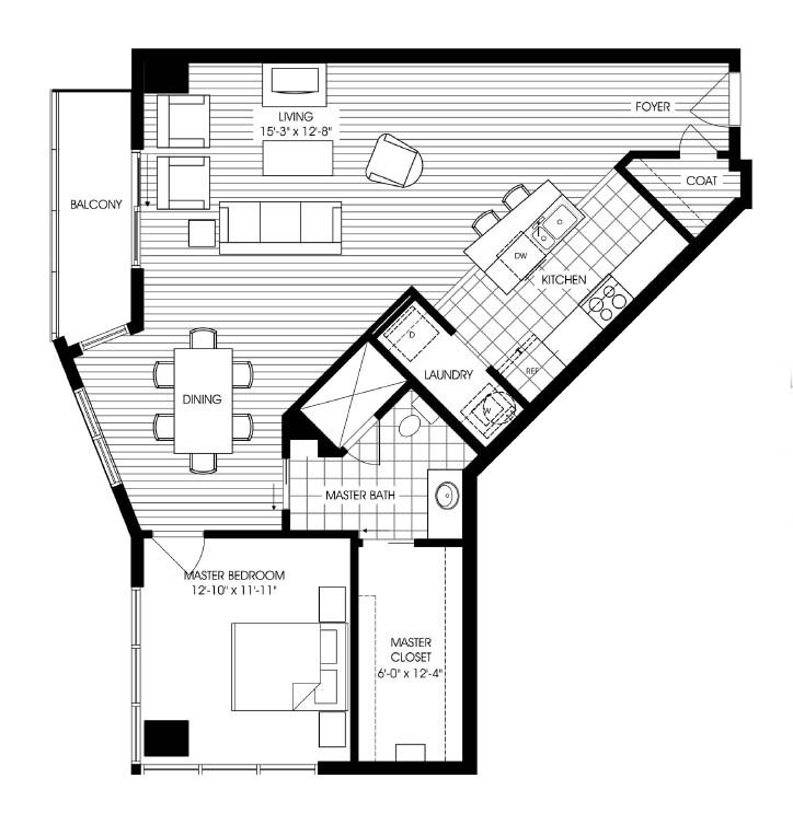1,077 sq. ft. A9 floor plan