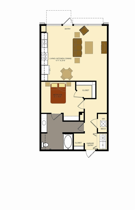 920 sq. ft. E3 floor plan