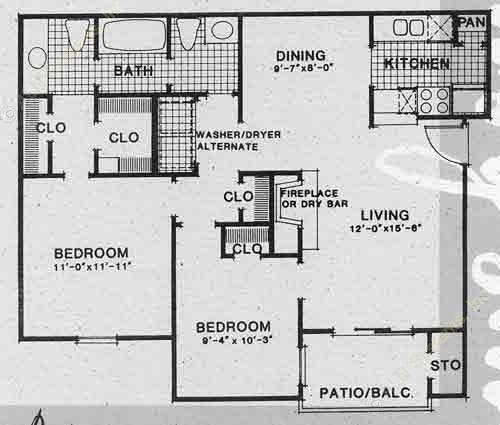 879 sq. ft. A4 floor plan
