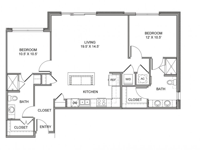 1,143 sq. ft. Ervay floor plan