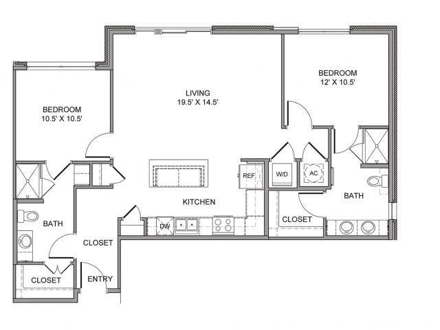 1,143 sq. ft. Ervay floor plan