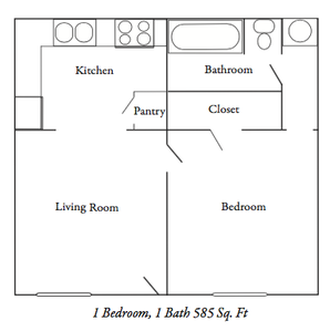 585 sq. ft. ABP floor plan