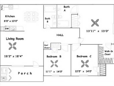 1,140 sq. ft. 3A/60 floor plan