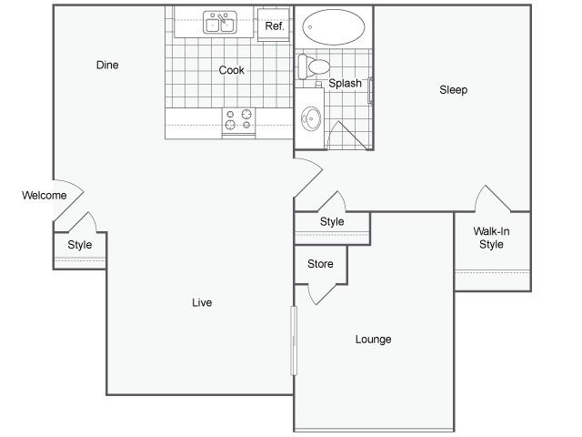 725 sq. ft. Milan floor plan