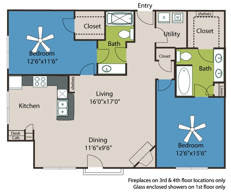 1,185 sq. ft. B3 floor plan