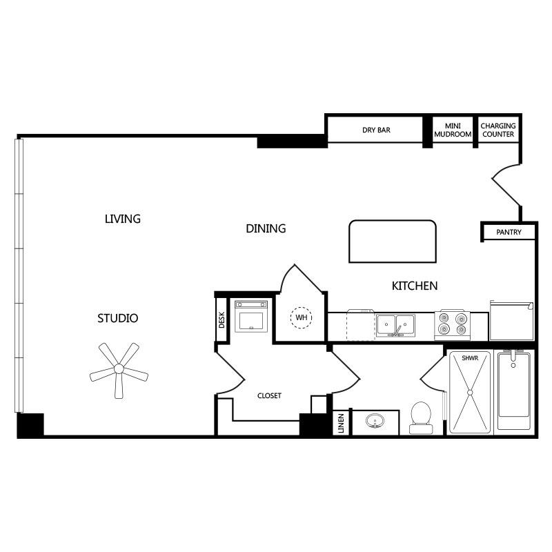 823 sq. ft. S2 floor plan