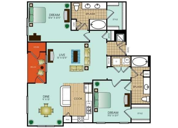 1,320 sq. ft. to 1,460 sq. ft. B15 floor plan