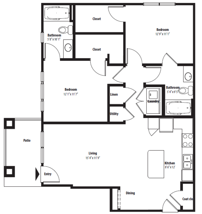 1,055 sq. ft. B1GG floor plan