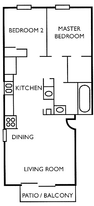 795 sq. ft. B1 floor plan