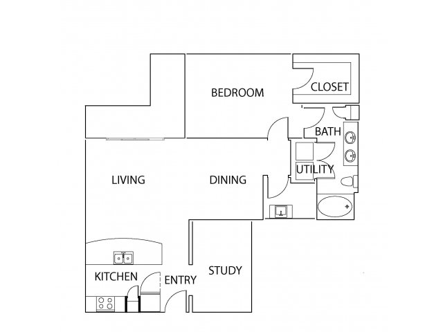 1,030 sq. ft. A9 floor plan