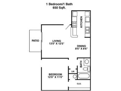 650 sq. ft. A3 floor plan