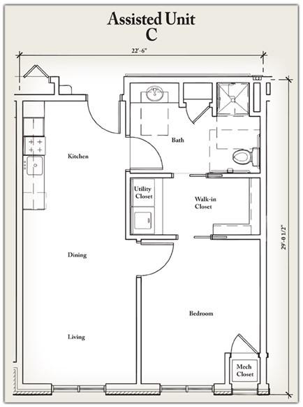 627 sq. ft. C floor plan