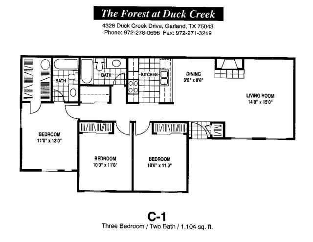 1,104 sq. ft. C-1 floor plan