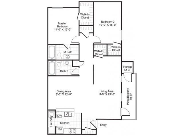 1,063 sq. ft. B2 floor plan