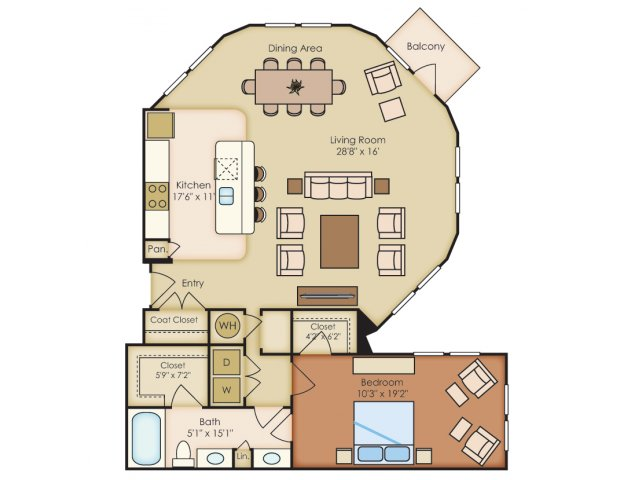 1,164 sq. ft. A5 floor plan