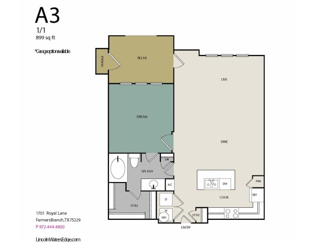 899 sq. ft. A3 floor plan