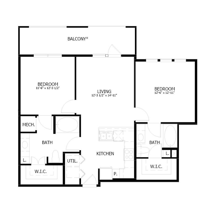 980 sq. ft. B6 floor plan