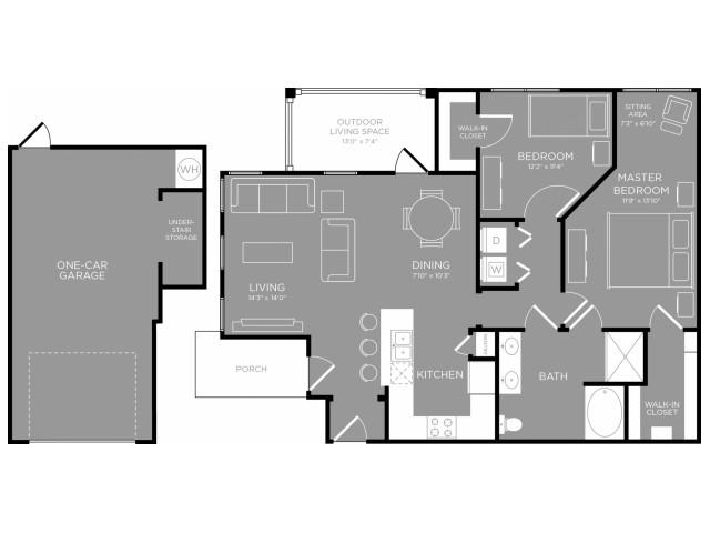 1,077 sq. ft. Lotus floor plan