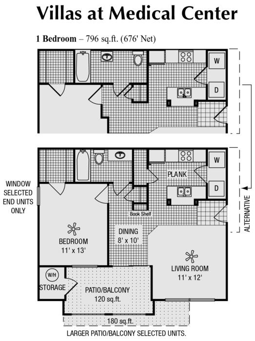 676 sq. ft. A floor plan