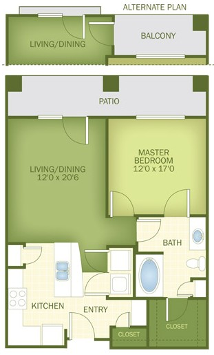710 sq. ft. Coronado floor plan