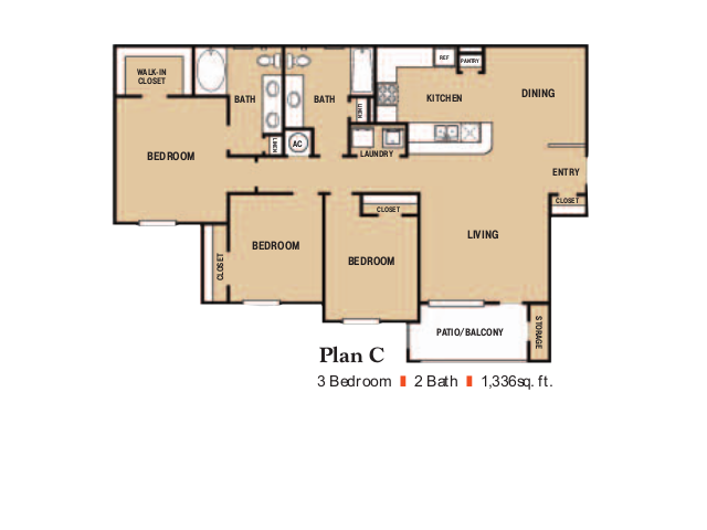 1,336 sq. ft. C1 floor plan