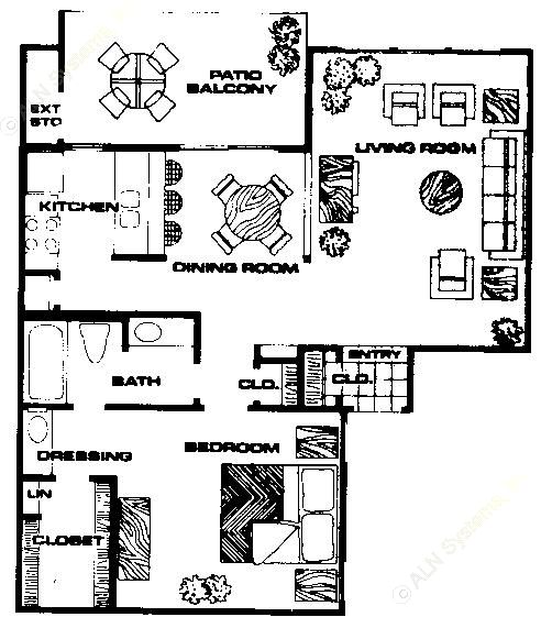 800 sq. ft. A3 floor plan
