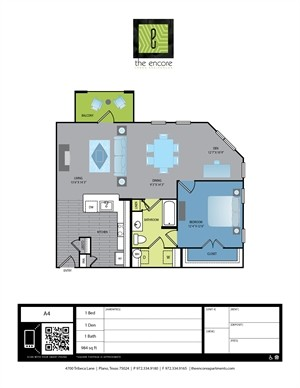 984 sq. ft. A5 floor plan