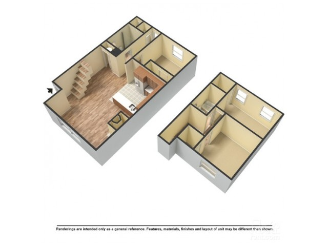 1,225 sq. ft. floor plan