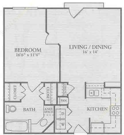 685 sq. ft. A1 floor plan