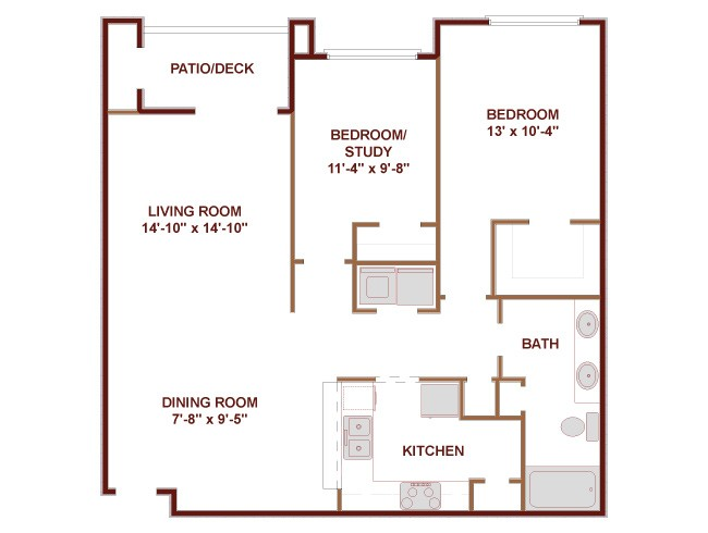 976 sq. ft. Sunset floor plan