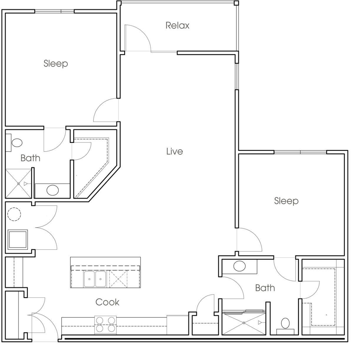 1,218 sq. ft. B6 floor plan
