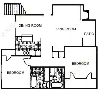 1,048 sq. ft. floor plan