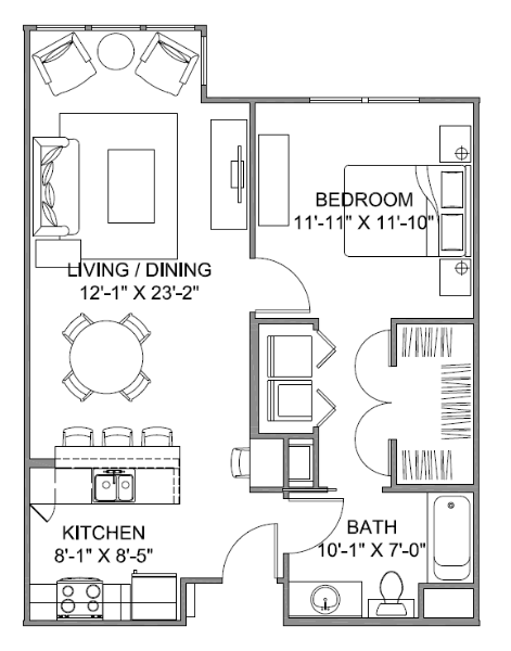 753 sq. ft. Avenue E/60% floor plan