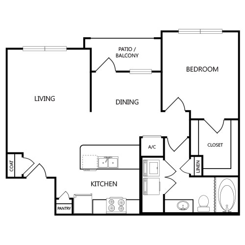 886 sq. ft. A3 floor plan