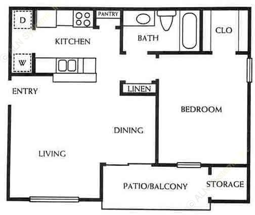 654 sq. ft. A1/60% floor plan