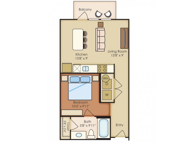 553 sq. ft. S1A floor plan