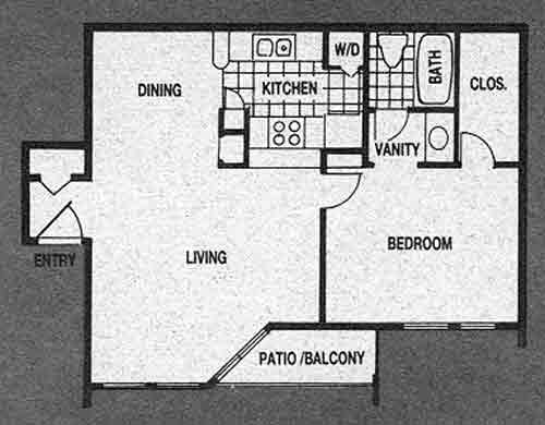 640 sq. ft. A3 floor plan