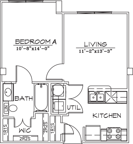 543 sq. ft. floor plan