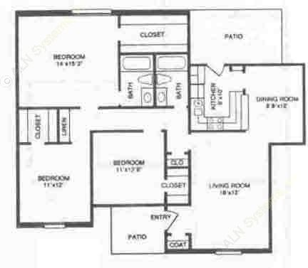 1,320 sq. ft. C1 floor plan