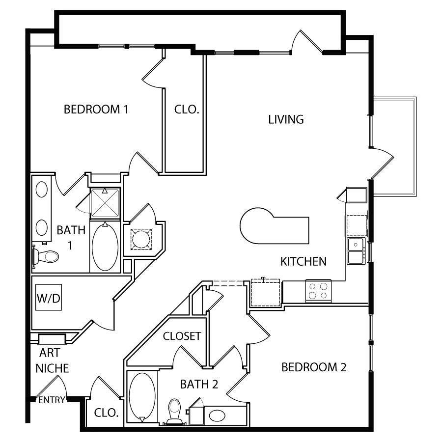 1,253 sq. ft. B6 floor plan