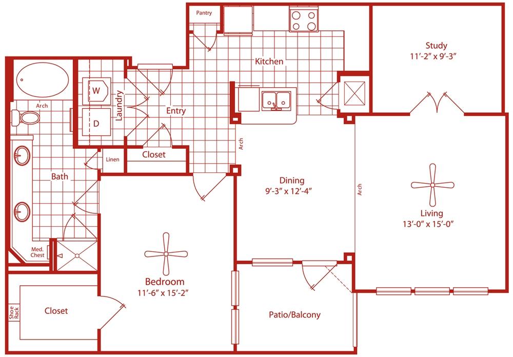 1,099 sq. ft. Greenbriar floor plan