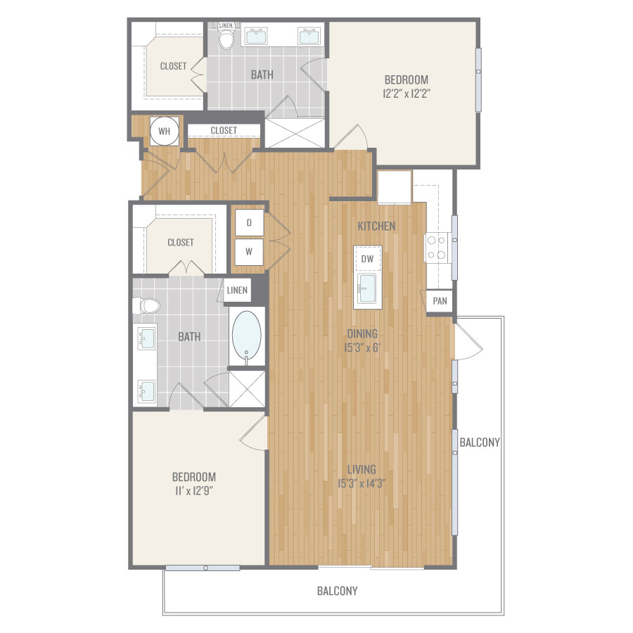 1,396 sq. ft. B6 floor plan