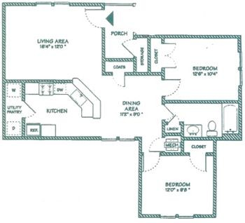 890 sq. ft. B floor plan